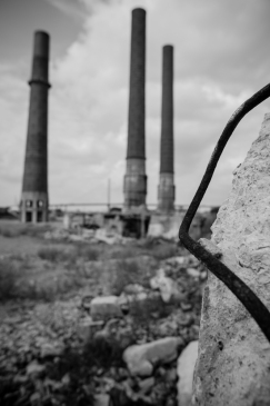 Ruins from the former Edison power plant in Toledo, OH. The site is being cleared for a proposed marina district.