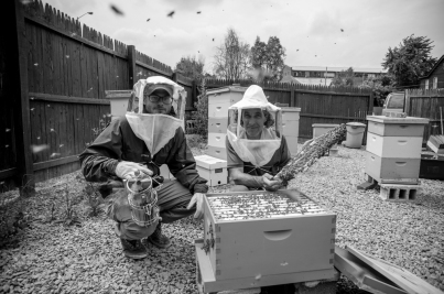 Kyle Pattison (left) and Jeff Shaw, Urban Beekeepers at Burgh Bees in Pittsburgh, PA