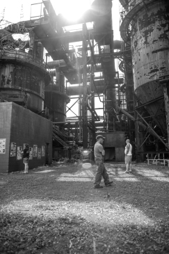 Visitors tour Carrie Furnace in Rankin, PA - an abandoned steel mill saved from destruction and designated a National Heritage site. It is now used for art space, music, festivals and tours.
