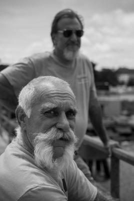 Scott Hudack (front) scrapyard owner and Steve Keresztesi (back), Cleveland, OH