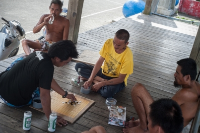 A mid-morning game of go in the Tao aboriginal village of Badai in Orchid Island, Taiwan.