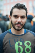 "Najm Toumah, a 4th year university student left his studies in Allepo, Syria and fled to Germany where he hopes to one day continue his studies in economics. The journey with his brother took them only 11 days, whereas for others it has taken up to two months. He considers himself lucky and is ""happy to stay anwhere there is peace."""
