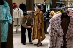 Sandra Holmes gets fitted for a $60,000 Russian Sable Fur Coat at Saks Fifth Ave in San Francisco.